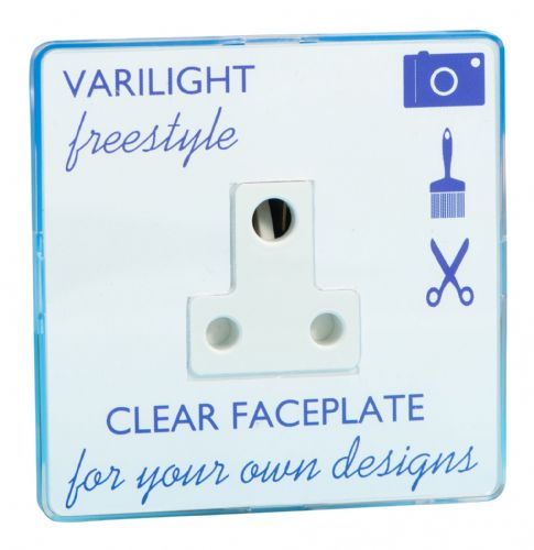 Varilight XIFRP5ACW Freestyle Clear 1 Gang 5A Round Pin Plug Socket